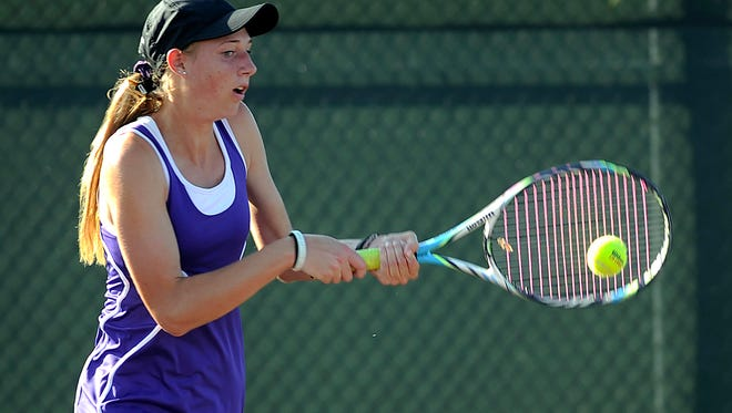 Wylie's Ashley Smyser returns a ball during her singles match against Boerne's Alexa Rice in the UIL team tennis state tournament semifinals on Wednesday, Nov. 2, 2016, at the George Mitchell Tennis Center in College Station.