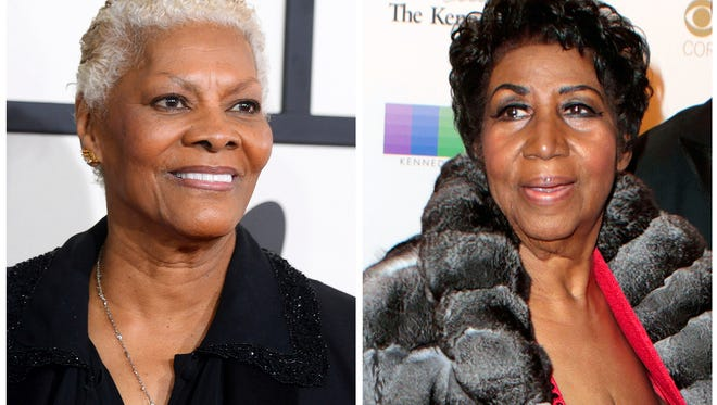 In this combination photo, singer Dionne Warwick arrives at the 56th annual GRAMMY Awards on Jan. 26, 2014, in Los Angeles, left, and Aretha Franklin attends the 39th Annual Kennedy Center Honors on Dec. 4, 2016, in Washington, D.C.