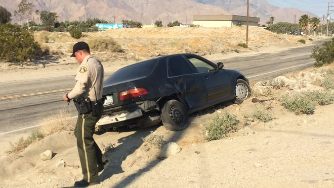 A car got stuck in sand following a pursuit Tuesday. A suspected drunk driver led officials on a chase from Thousand Palms to an area near Desert Hot Springs, officials say.