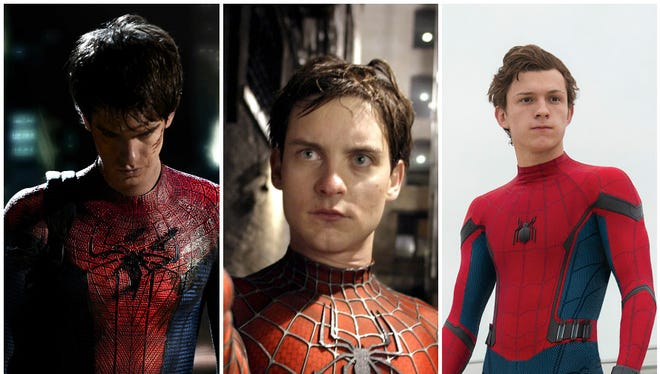 Andrew Garfield (left) and Tobey Maguire (center) already played 'Spider-Man' on the silver screen. Now it's Tom Holland's (right) turn to shoot webs.