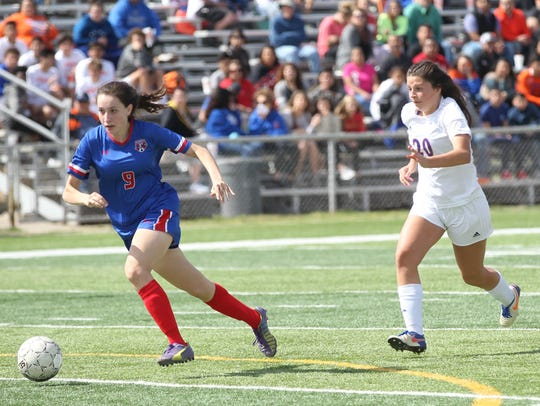 Sydnie Dehoyos (right) played her final soccer match for the San Angelo Central Lady Cats in a 4-0 area playoff loss against No. 2 Flower Mound Marcus in Abilene on Tuesday.