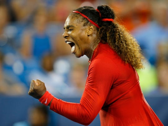 Serena Williams celebrates a point in the second set