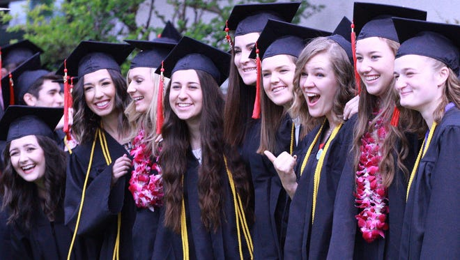 Simpson University honored 150 graduates on Saturday during two indoor ceremonies in the James M. Grant Student Life Center, including these nine women, who comprised the university's biology class of 2018.