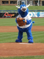 Tulsa Drillers mascot Hornsby on the pitcher's mound
