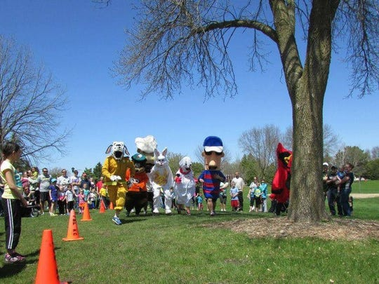 "A variety of mascots will open the ""It's Fun to Run"" youth run on Saturday, including the Brewers' Racing Sausages and the Bunny Rabbit."