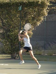 Makayla Chassion hits a backhand during the MBL singles