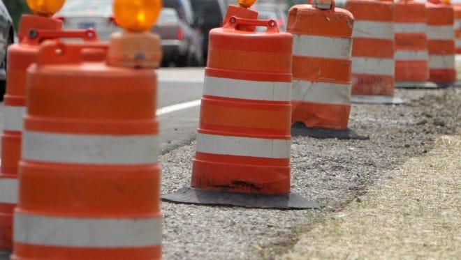 Road construction cones.