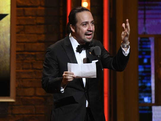 Lin-Manuel Miranda accepts the original score Tony