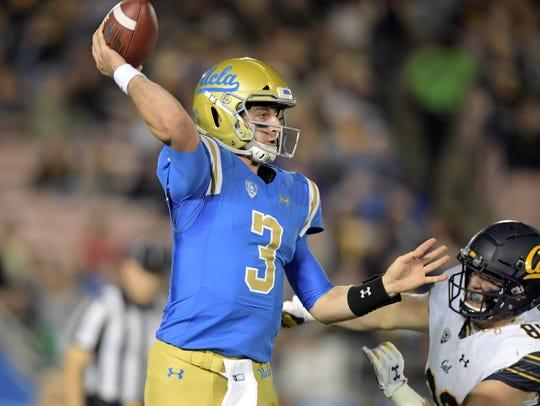 UCLA Bruins quarterback Josh Rosen (3) throws a pass