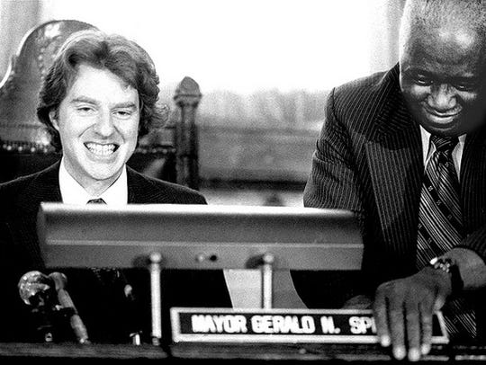 Jerry Springer as he takes his seat as mayor in 1977.