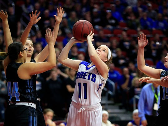 Kennedy Gaul of Crestwood of Cresco drives to the basket in her team's quarterfinal win over South Tama Tuesday.