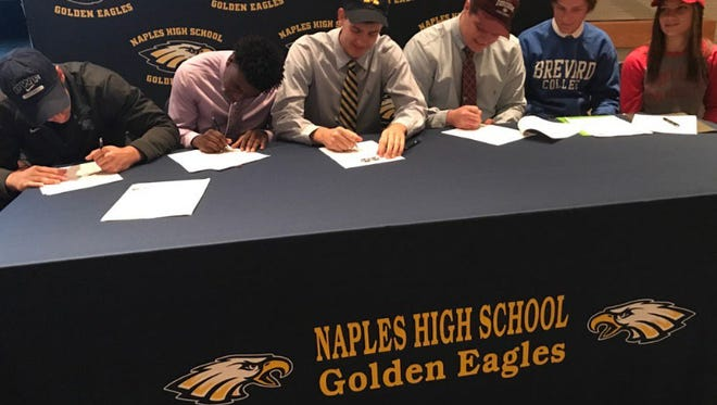 Students from Naples High School sign their letter of intent on National Signing Day. NSD is the first Wednesday in February and is the first day that a high school senior can sign a binding National Letter of Intent for college football with the member of the NCAA.
