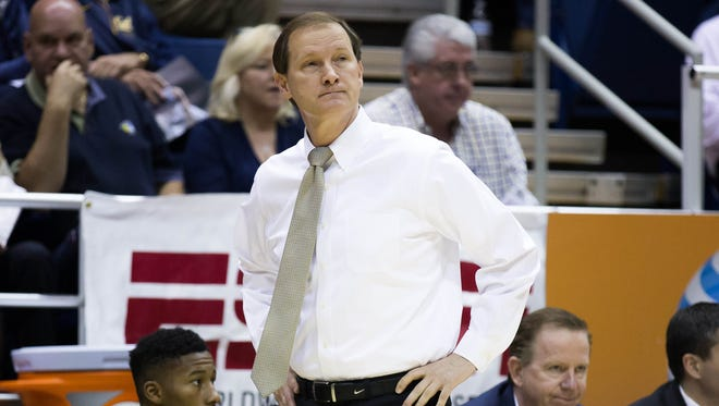 Feb 11, 2016; Berkeley, CA, USA; Oregon Ducks head coach Dana Altman on the sideline against the California Golden Bears during the first half at Haas Pavilion. Mandatory Credit: Kelley L Cox-USA TODAY Sports