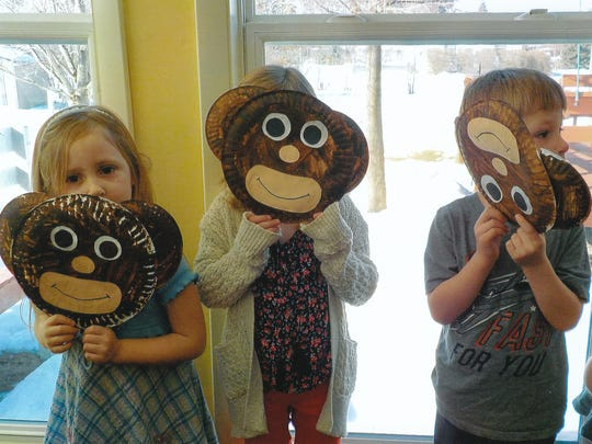 St. John Lutheran School 4K students created monkey masks for a skit at Evergreen Park Assisted Living.