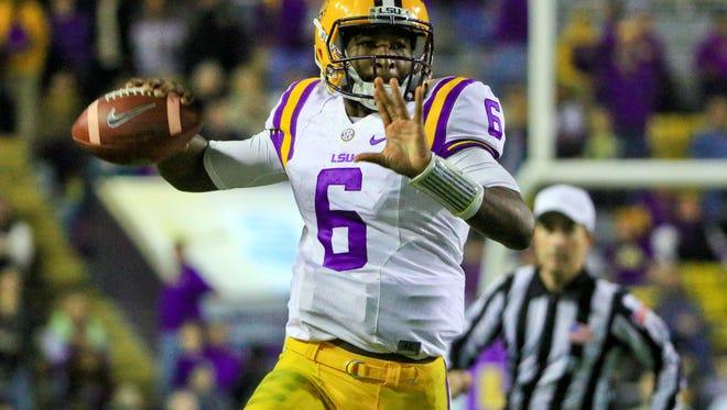 LSU quarterback Brandon Harris (6) throws a pass against the Razorbacks. Arkansas defeated LSU 31-14.