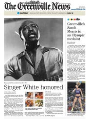 The front page of The Greenville News on Aug. 20, 2016.
