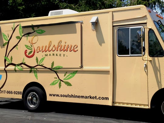 "Look for a ""tree of life"" branch decorating the cream-colored Soulshine Market truck. ""The branch is to show life because everything we have on the truck is very fresh,"" chef/owner Kelly Kimpton said."