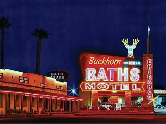 Buckhorn Baths Motel at Night