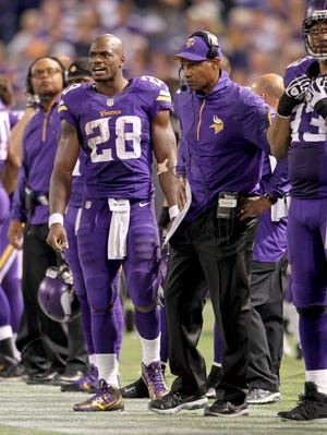 Adrian Peterson, left, had a career year in 2012 under Leslie Frazier but will have a new coach as he turns 29 in March.