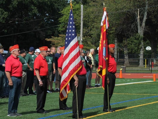 Pregame ceremony during St. Joseph High School's Military,