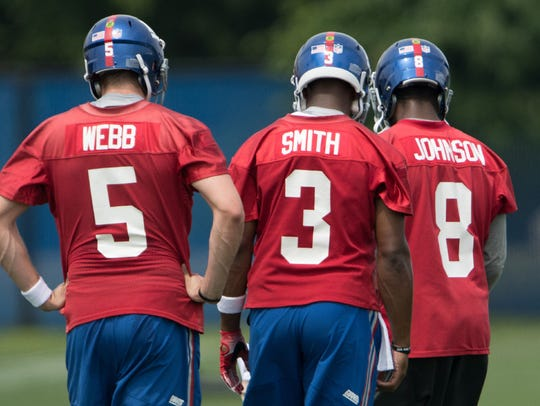 Quarterbacks Davis Webb, Geno Smith and Josh Johnson