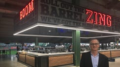 Brewers COO Rick Schlesinger shows off the new Zing