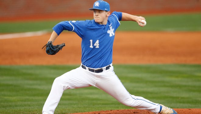 Wapahani graduate Zack Thompson, shown here during his freshman season at Kentucky, is Baseball America's top SEC prospect for the 2019 MLB draft.