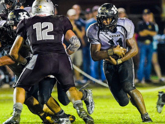 Kaplan running back Julius Johnson (11) remains the Pirates' most consistent rushing threat in the ball-control offense.