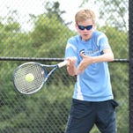 Stevenson doubles player Tom Dunne locks in on a shot during a match earlier this season.