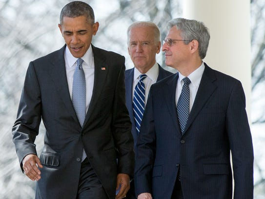 Merrick Garland with President Obama and Vice President