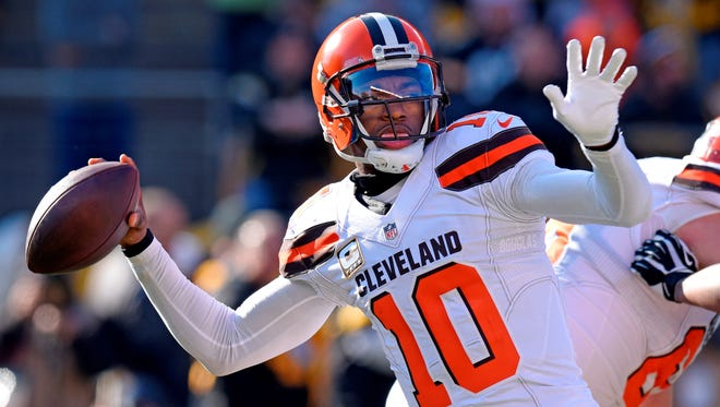 Quarterback Robert Griffin III, seen here playing for the Cleveland Browns, has signed a one-year deal with the Baltimore Ravens. AP FILE PHOTO