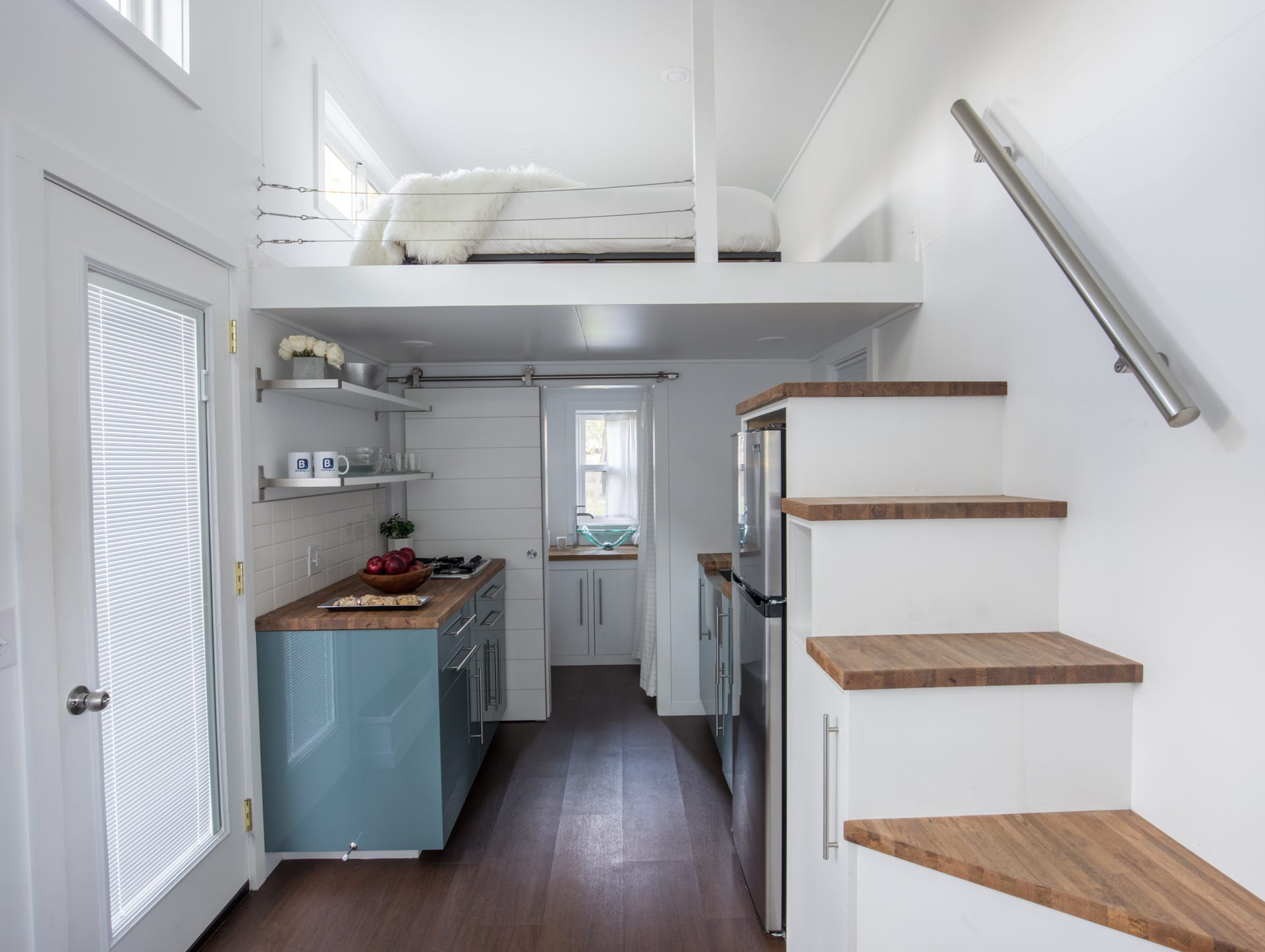 This is the interior of the 192 square-foot tiny home