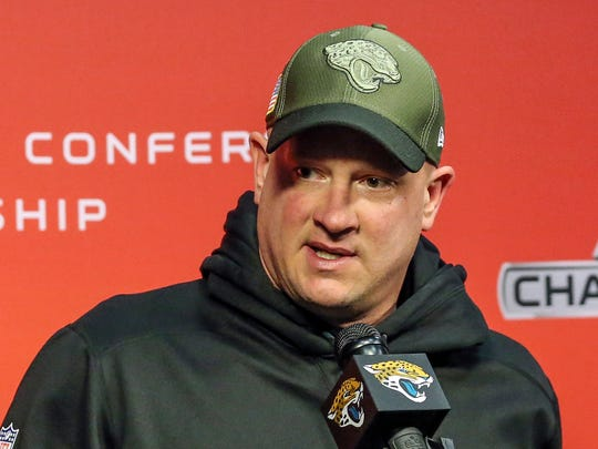 FILE - In this Jan. 18, 2018, file photo, Jacksonville Jaguars Nathaniel Hackett offensive coordinator speaks with reporters after NFL football practice in Jacksonville, Fla. Jaguars have fired Hackett on Monday, Nov. 26, 2018, the day after the team's seventh consecutive loss. (AP Photo/Gary McCullough, File)