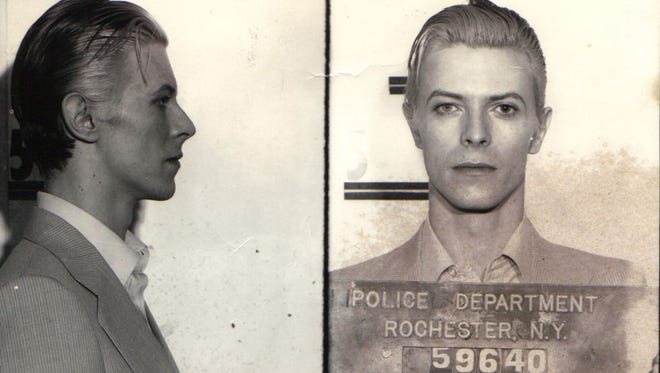 David Bowie was arrested in Rochester in 1976 for pot possession.