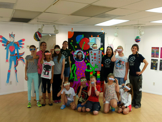Students pose at the Fine Arts for Kids Camp.