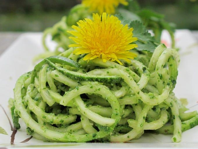 Cilantro pesto zucchini pasta