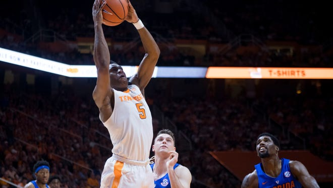 Tennessee's Admiral Schofield takes a shote and scores against Florida on Wednesday, February 21, 2018.