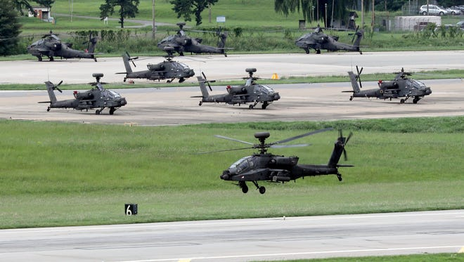 An Apache helicopter takes off at the U.S. Camp Humphreys base during the Ulchi Freedom Guardian exercise against North Korean provocations, a South Korea-US joint command-post drill in Pyeongtaek, southwest of Seoul, South Korea, on Aug. 21, 2017.