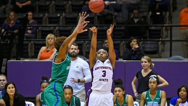 Northwestern State's Keisha Lee takes a shot against Texas A&M Corpus Christi.