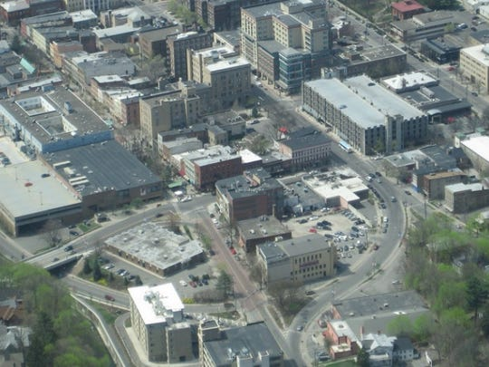 An aerial view of the area where the proposed apartment