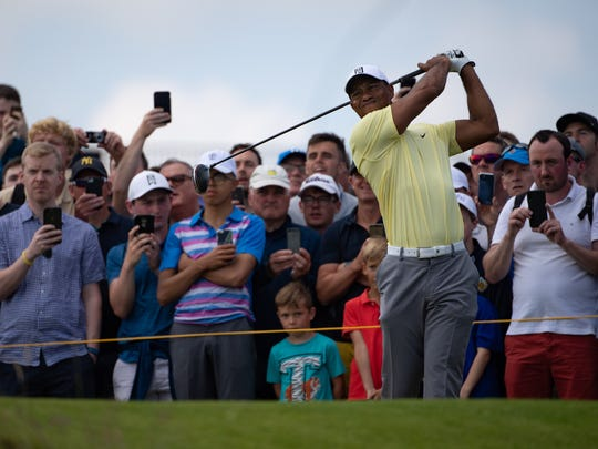 Tiger Woods plays from the 14th tee during a practice round for the British Open at Royal Portrush Golf Club.