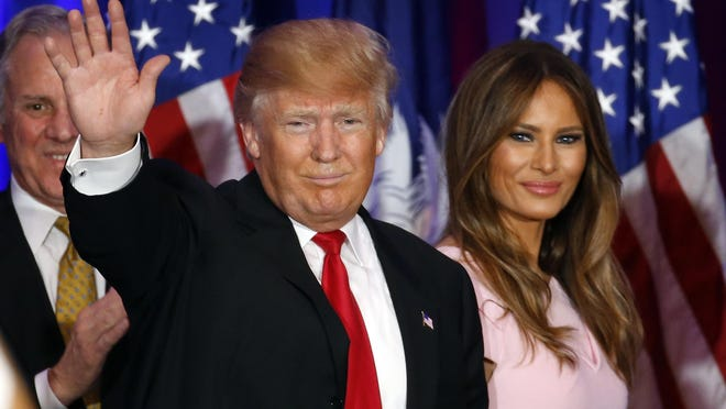 Republican presidential candidate Donald Trump appears with his wife, Melania, in Spartanburg, S.C., last month.