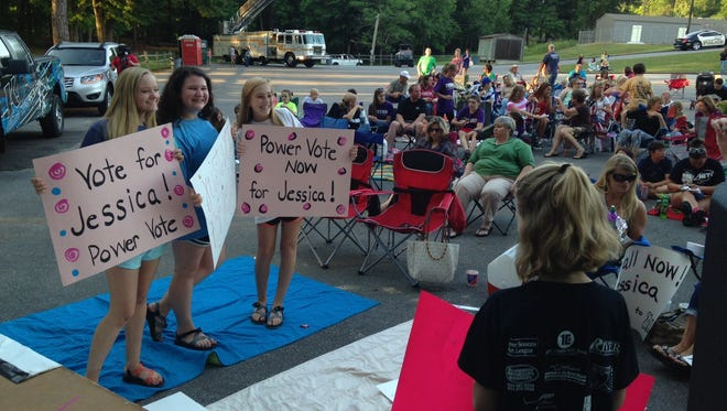 People gather to support Jess in Wetumpka on Wednesday.