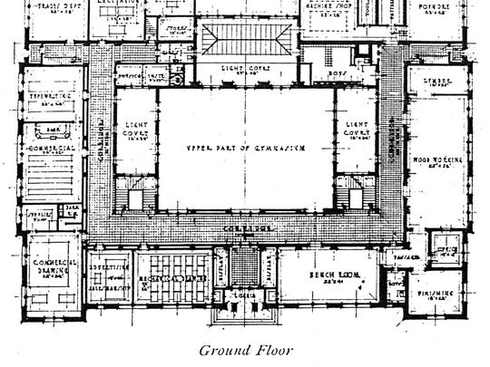 The original blueprint of Technical High School's ground floor shows agricultural and industrial technology classes encasing the upper level of the school's central gymnasium.
