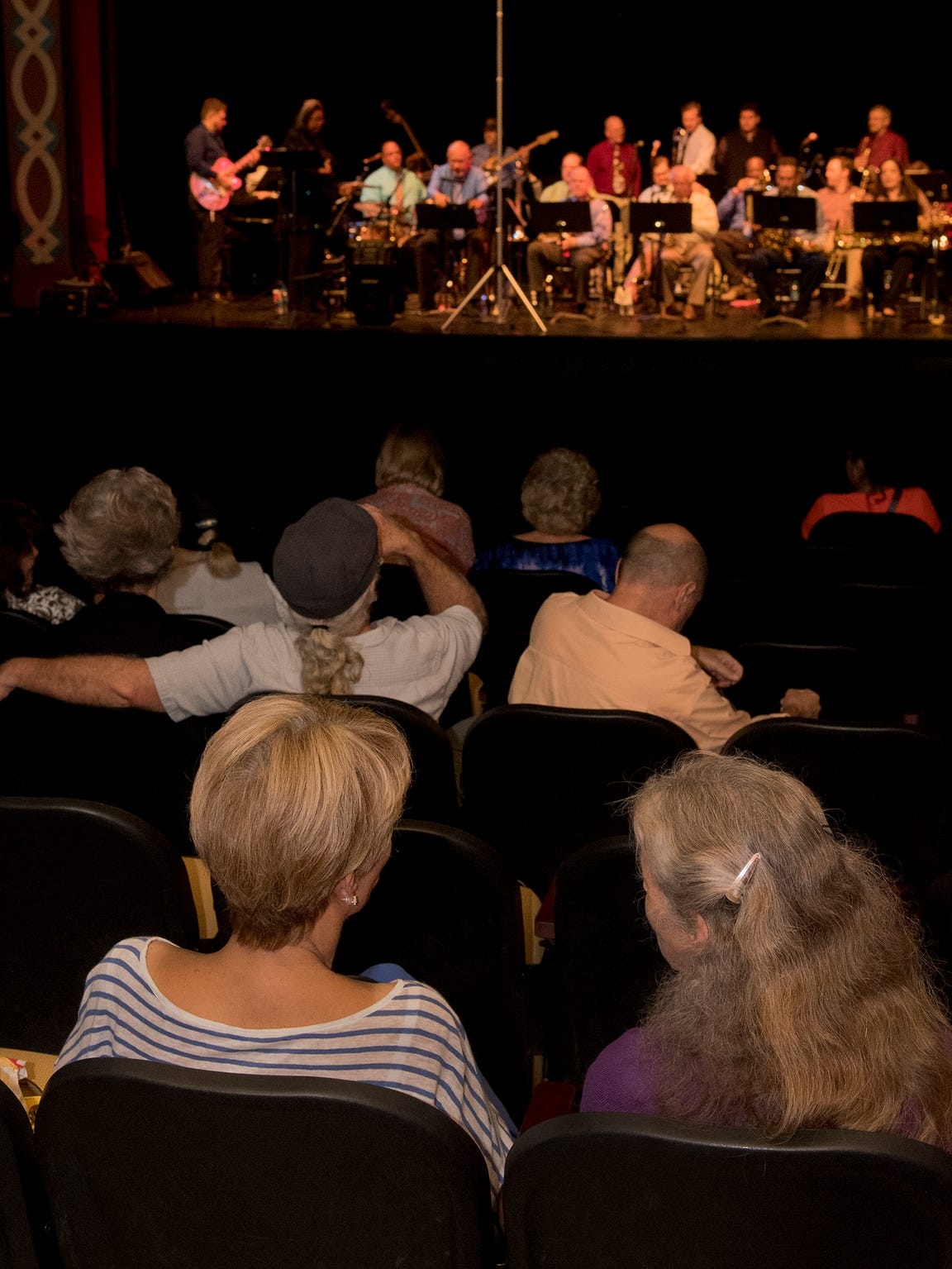 A crowd enjoys the Jazz Unlimited Big Band at one of
