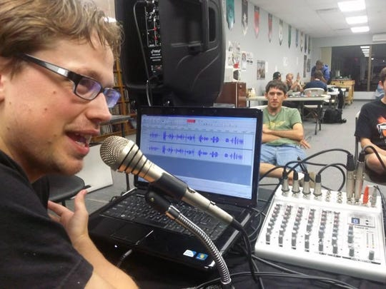 Noah Houlihan and his partner Will Liam perform their podcast out of Adventureland Store in Voorhees Town Center every week