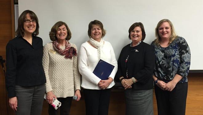 Salem Mayor Anna Peterson proclaimed 2015 to be Oregon Symphony Association in Salem's Diamond Anniversary Year. Francine Shetterly, from left, Meg Weiss, Christine Whiteside, Mayor Anna Peterson and Laura Aguero.