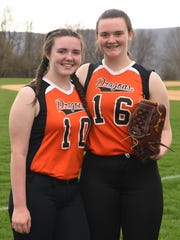 Courtney and Emily Lundgen, two sisters who are both on Dover's softball team.