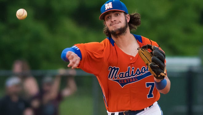 Madison Central third baseman Justin Milam throws to first base against Northwest Rankin during MHSAA 6A Baseball North State Championship action held in Madison, Mississippi May 12th, 2016.(Bob Smith-For The Clarion Ledger)