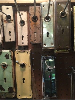 Door plates are a common item at Big Reuse in New York City and other salvage warehouses.